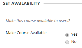 Set course availability to yes