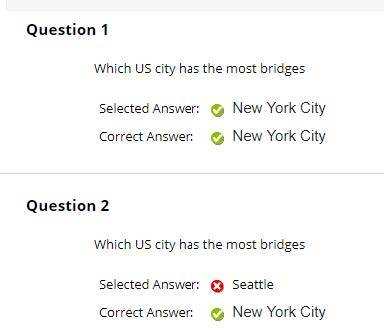 The correct answer and the answer that they selected is presented