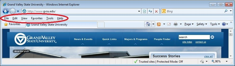 Internet Explorer Menu Bar