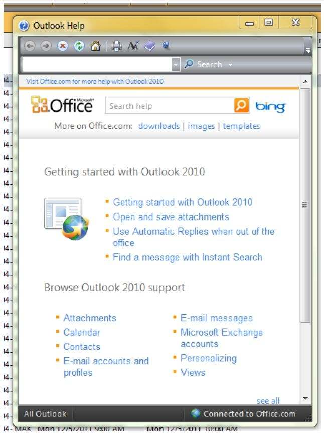 Information About Messaging And Calendars Or Other Outlook Capabilities Click On The Blue Question Mark In Upper Right Hand Corner Of Page