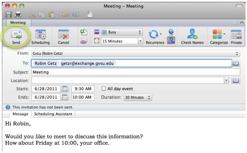 How to Setup a Meeting from an Email in Outlook for Mac IT