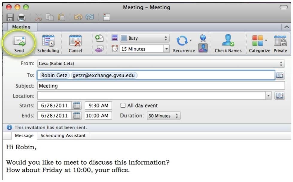 send meeting