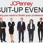 People in suits with text that says JCPenney Suit-Up Event, Everything you need to finish you professional look on October 6, 2019