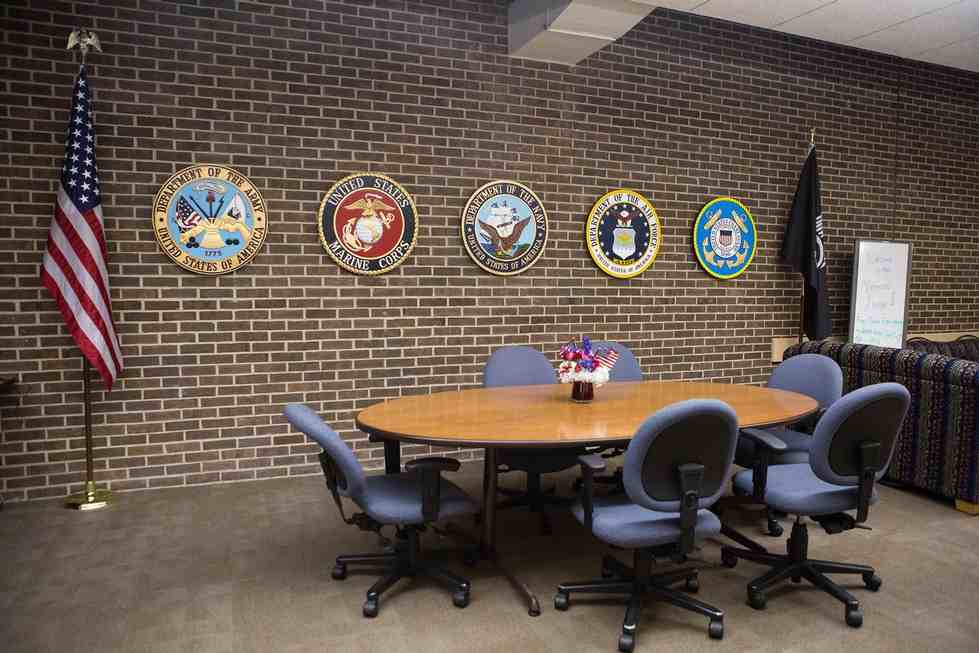 Veterans lounge space located in the Kirkhof Center