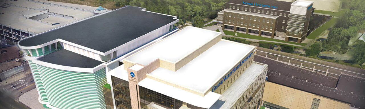 Rendering of health campus with all three buildings.
