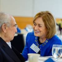 Seymour Padnos talking with Donna Brooks at the Foundation Annual Meeting