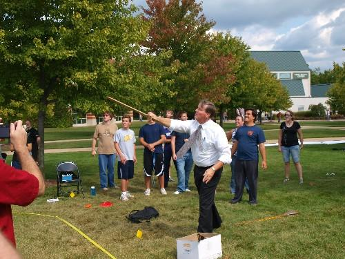Atlatl-throwing with Grand Valley's fourth president, Thomas J. Haas!