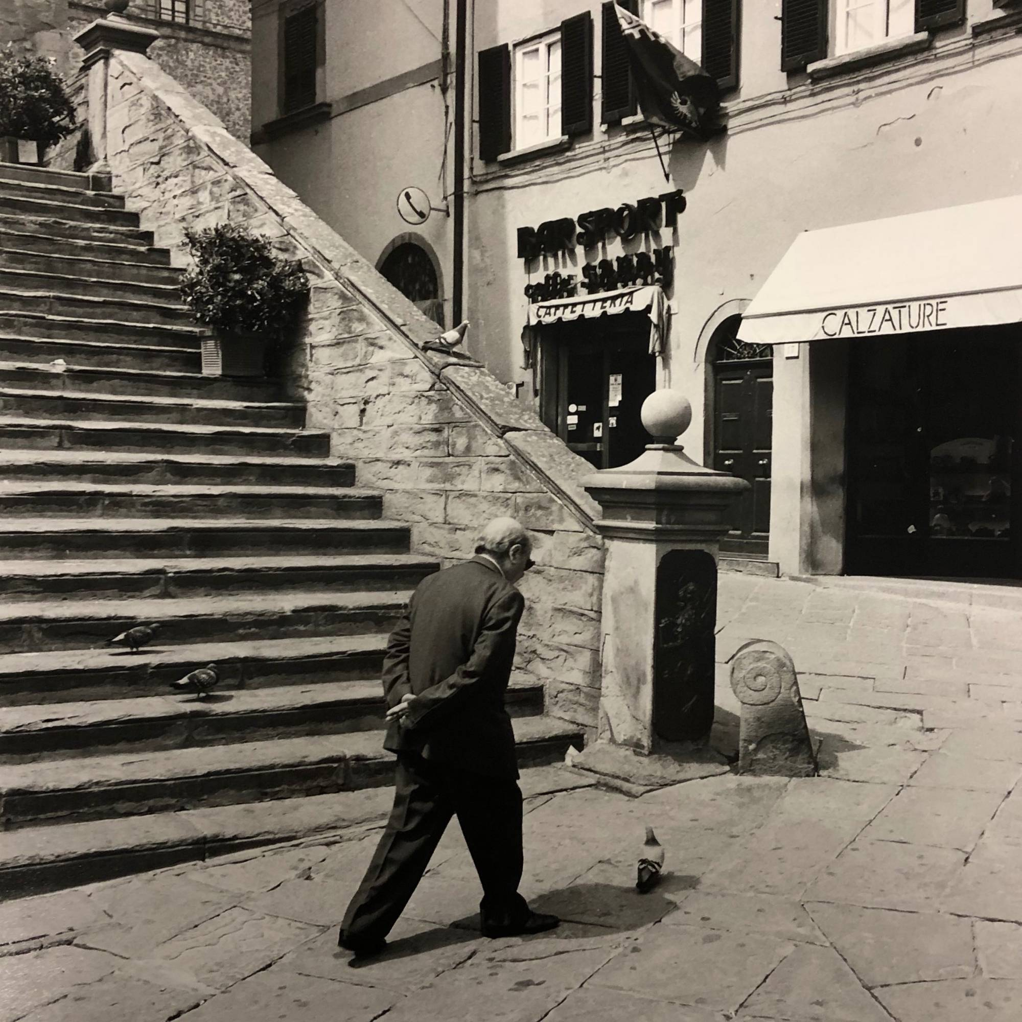 man walking on cobblestone street next to stone stairway with pigeon on ground next to him