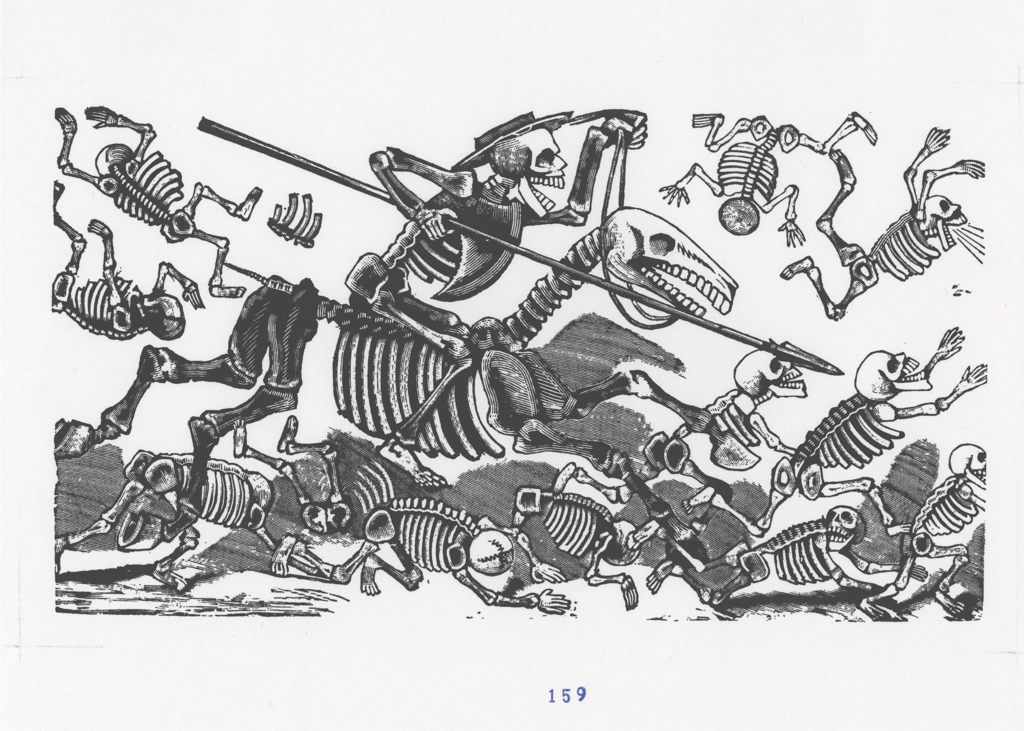print of skeleton with long spear riding skeleton horse while other skeletons run and fall around him