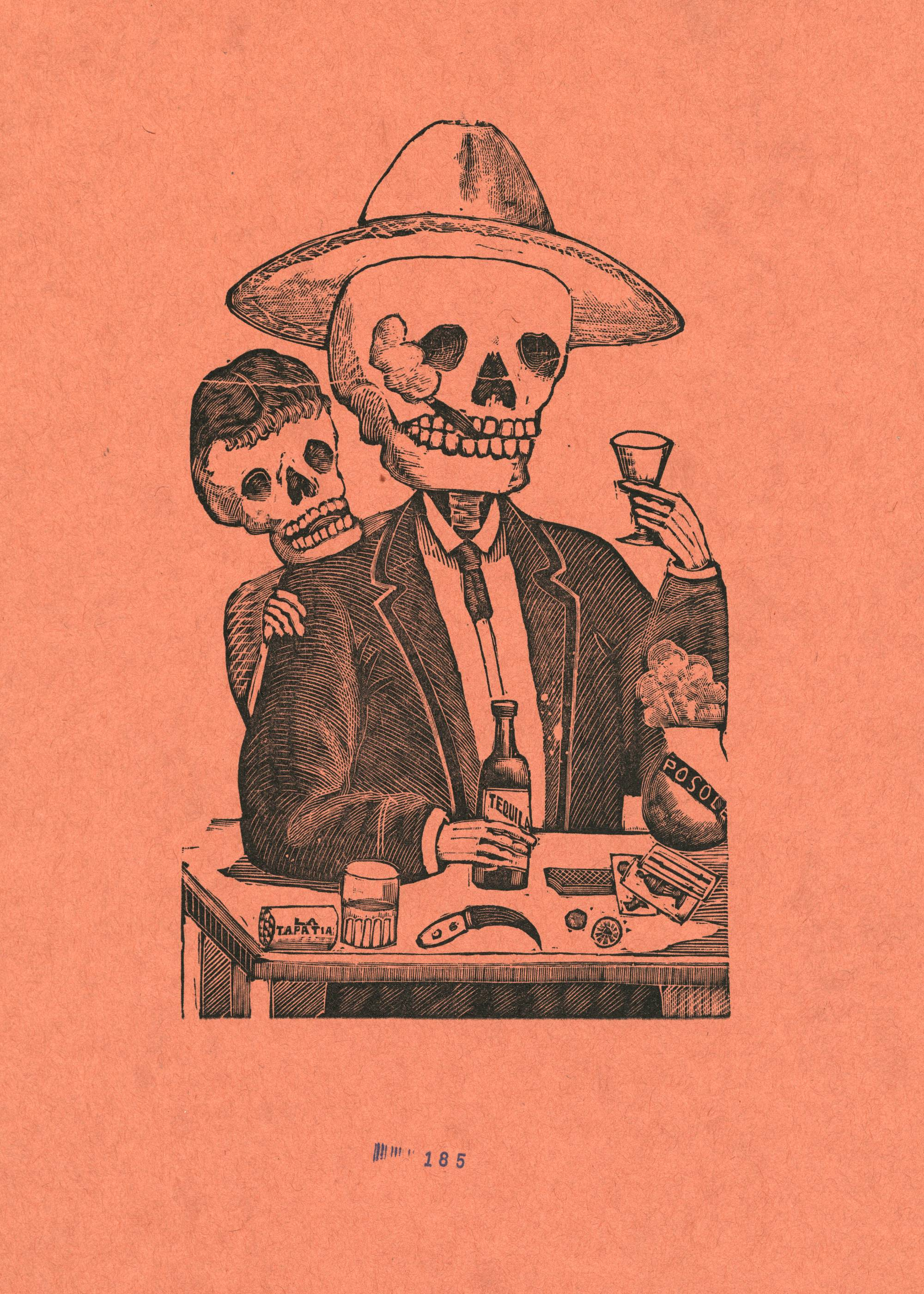 print of skeleton man smoking cigar and drinking tequila with smaller skeleton peaking over his shoulder