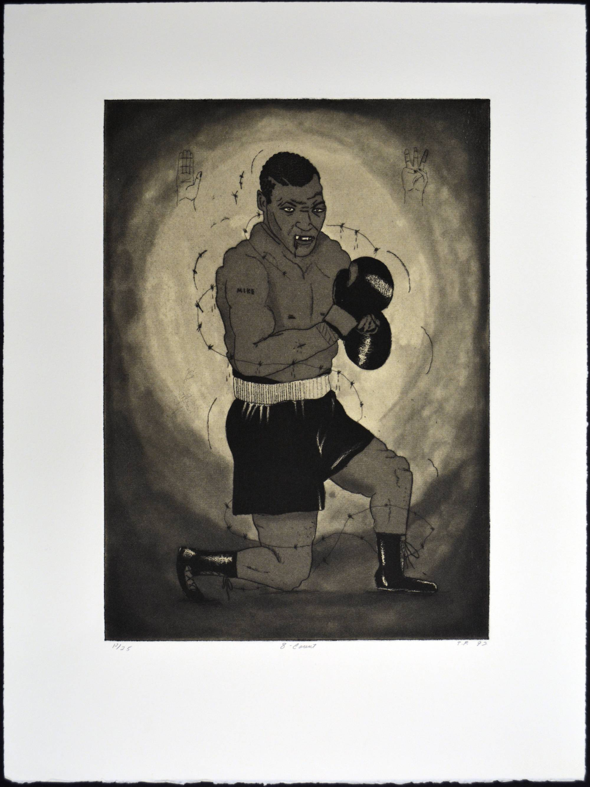 etching of mike tyson on one knee