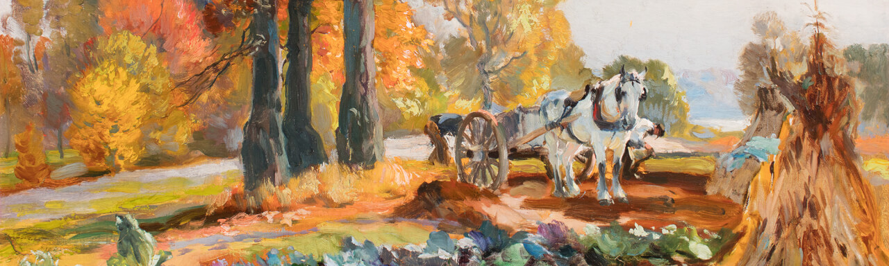 "Detail of painting, ""Farmers with Horse Cart"""