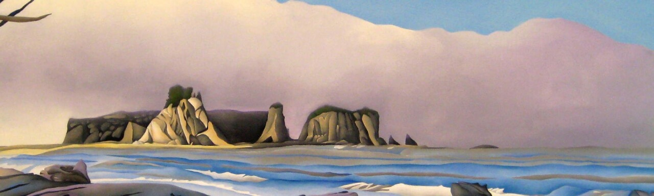 painting of rocks beyond lakeshore