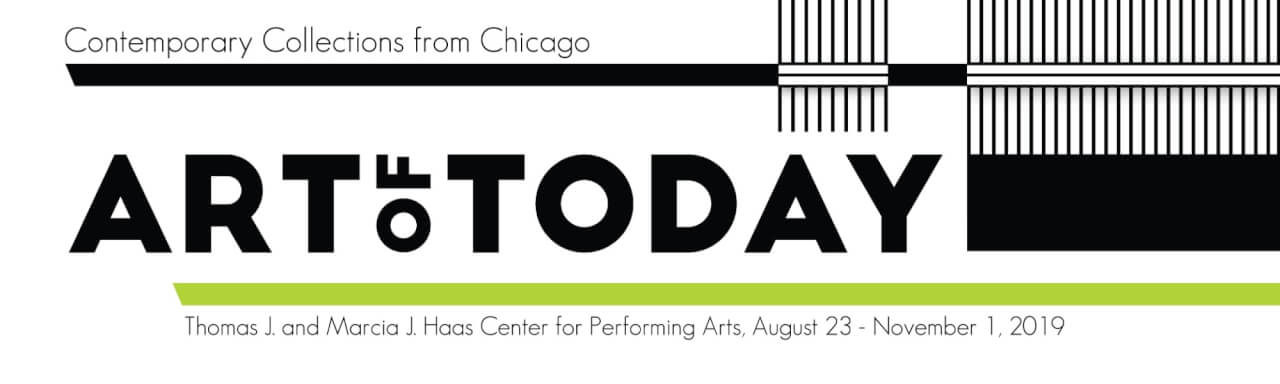 "Black text with green bar beneath that reads ""Art of Today: Contemporary Collections from Chicago"