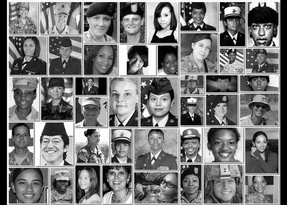 Images of women veterans who have lost their lives after a sexual asult.