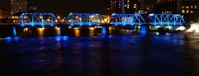 blue bridge at night