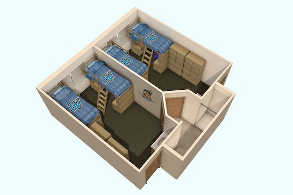 Bathroom floor plan dimensions - Suite Style Living Center Housing Students Grand Valley State