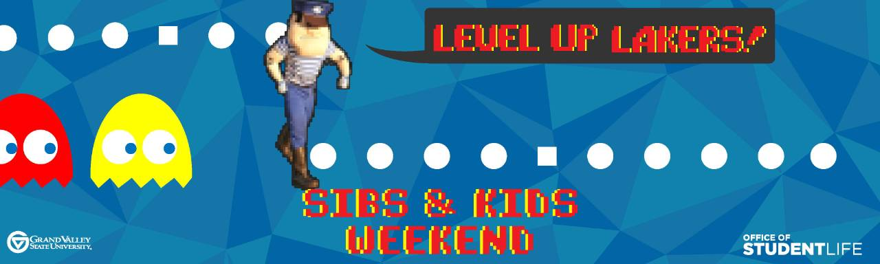 "Sibs and Kids banner in 8-bit style with caption ""level up Lakers"""
