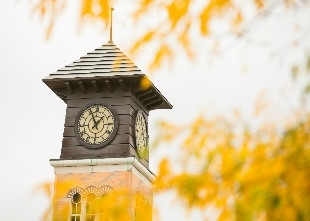 GVSU clock tower on a chilly fall day (photo)