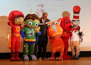 Dean and PBS characters on stage during an PBS activity  (photo)