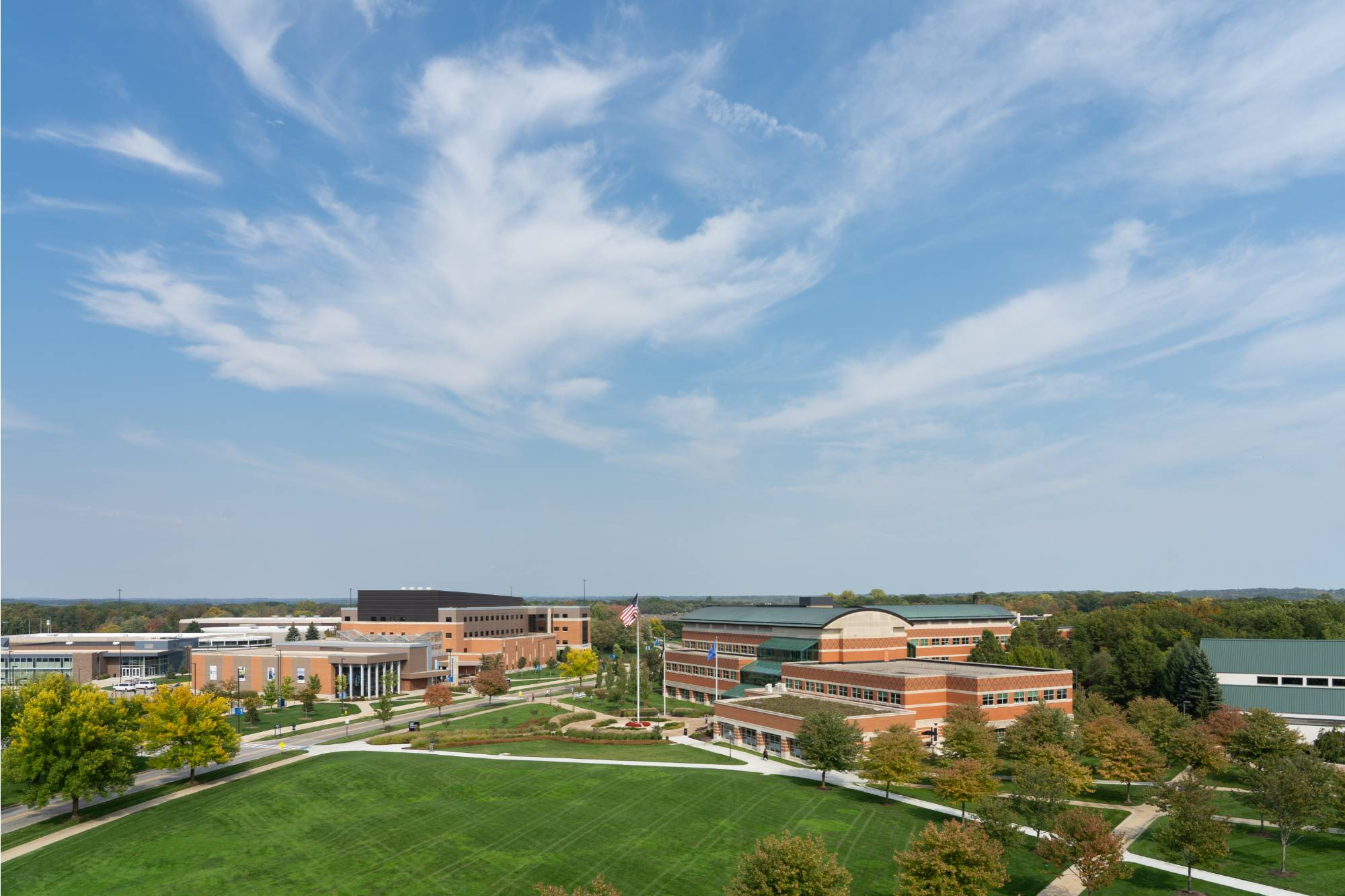An aerial view of campus that includes the Student Services building.