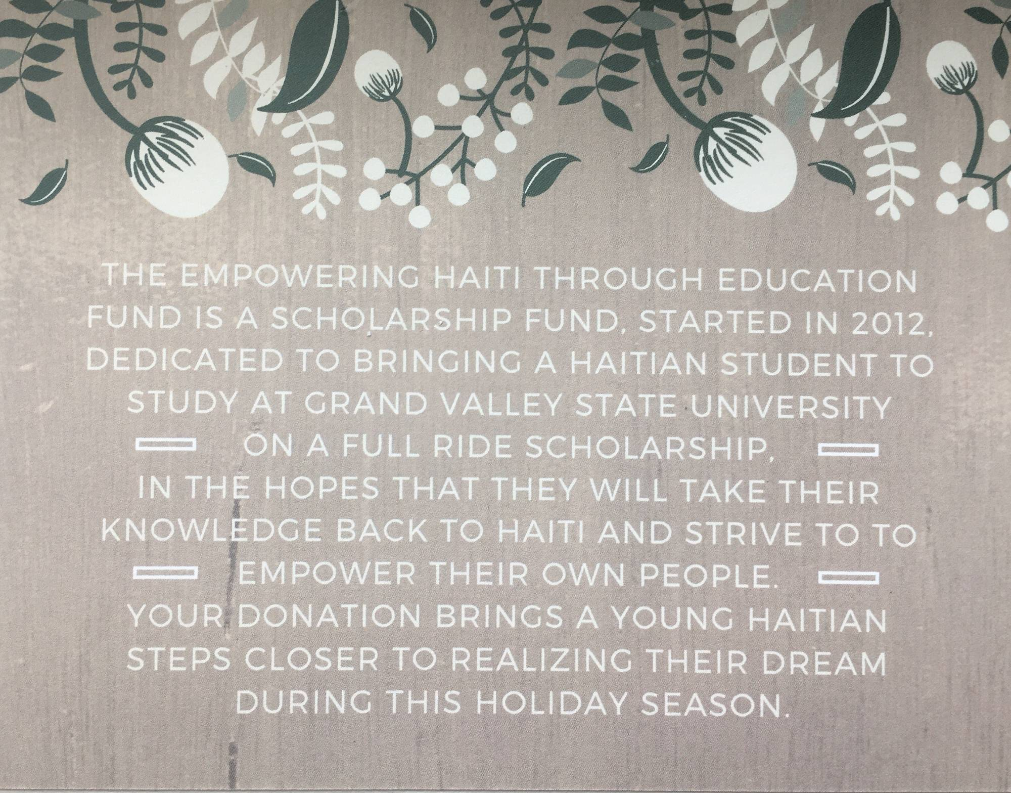 Empowering Haiti Through Education Fund Grand Valley