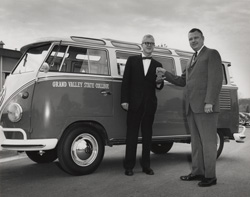A VW bus was donated by Peter Cook
