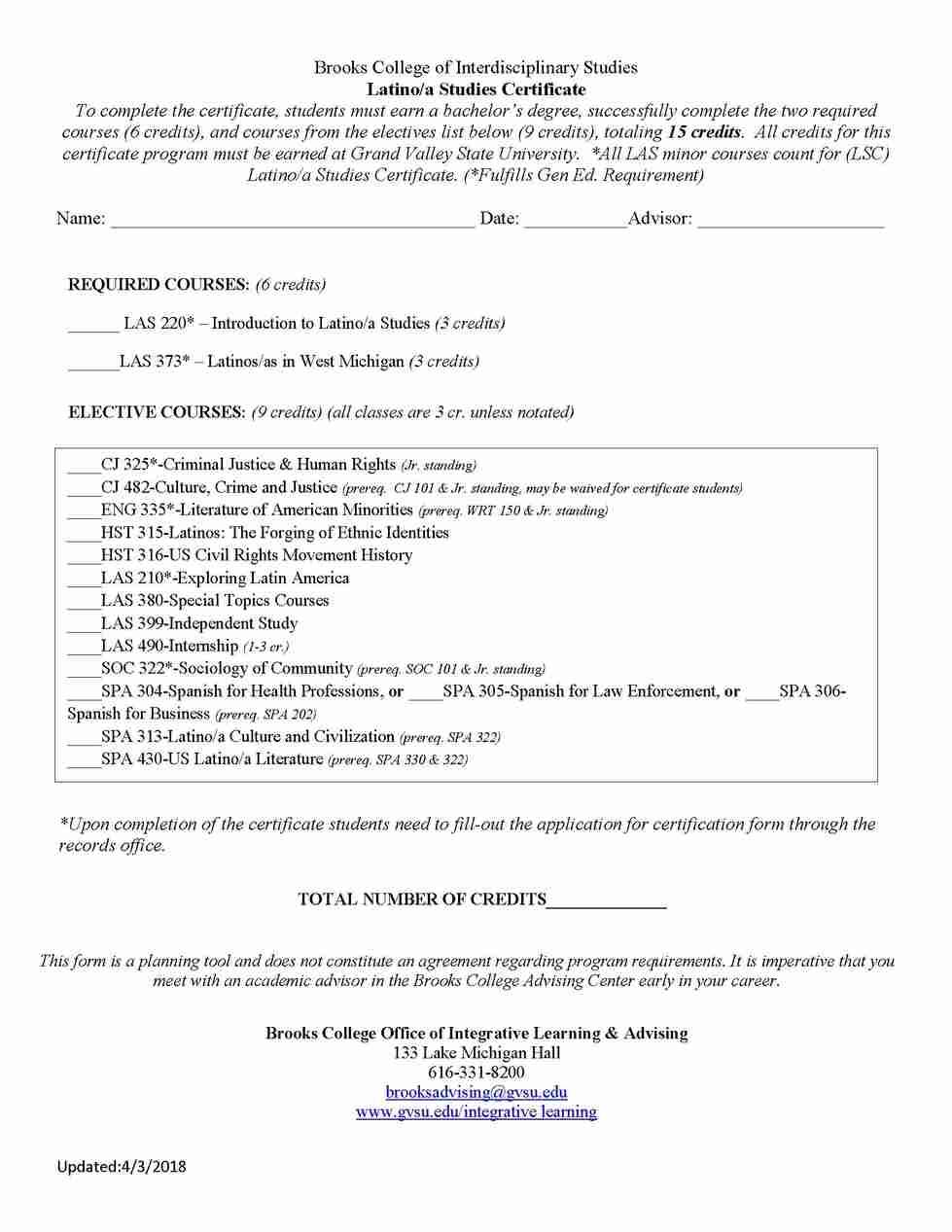 Latinoa Studies Certificate Grand Valley State University