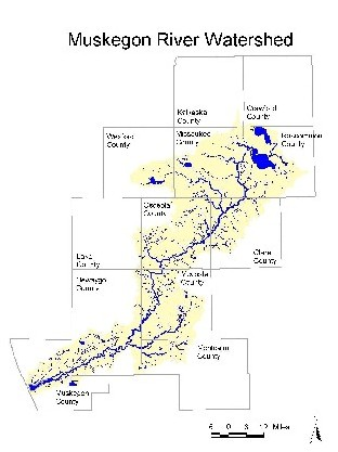 Grand River Flow >> Muskegon River Watershed Project - Study Area - Robert B. Annis Water Resources Institute (AWRI ...