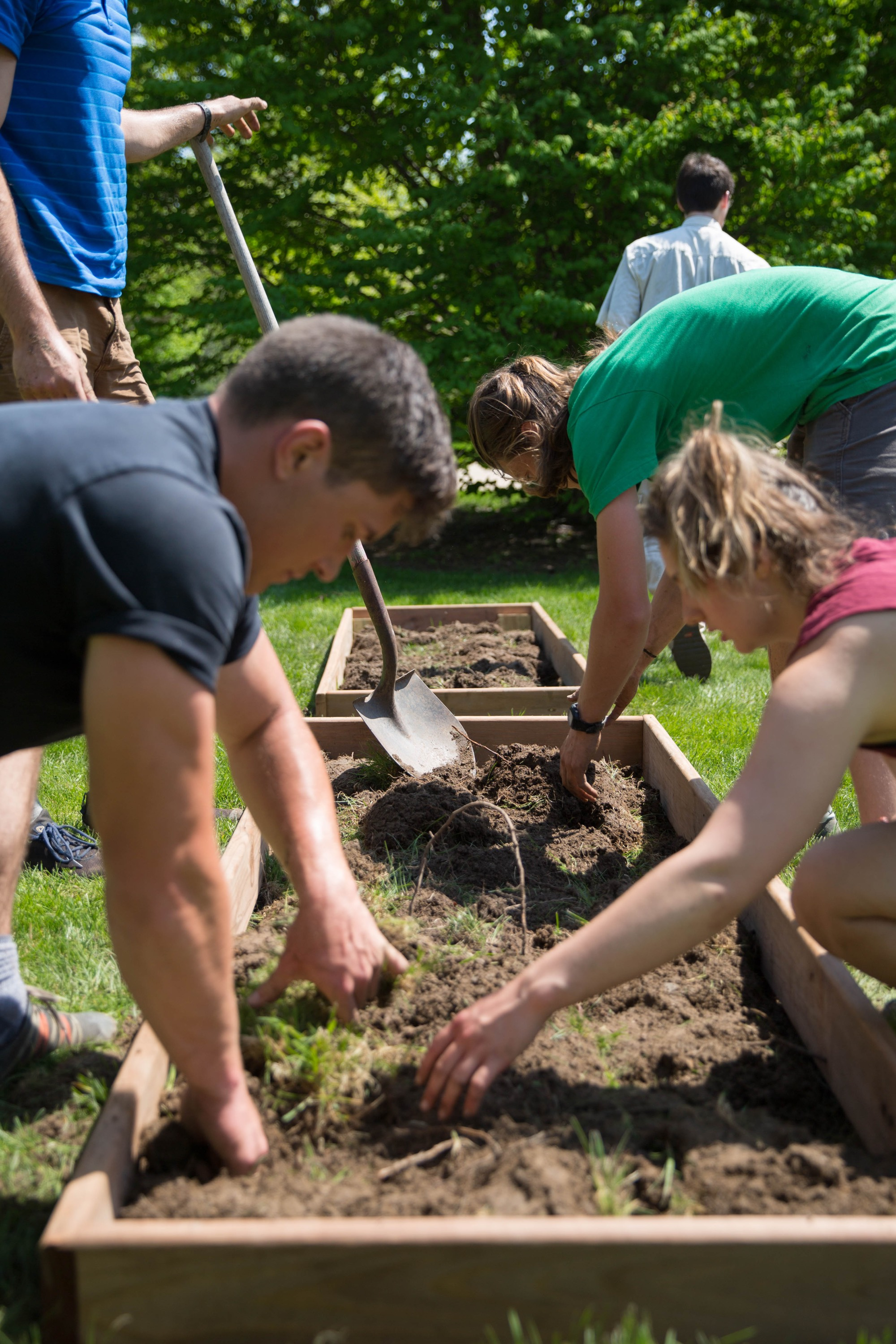 Farm Crew digs up soil and puts box gardens in