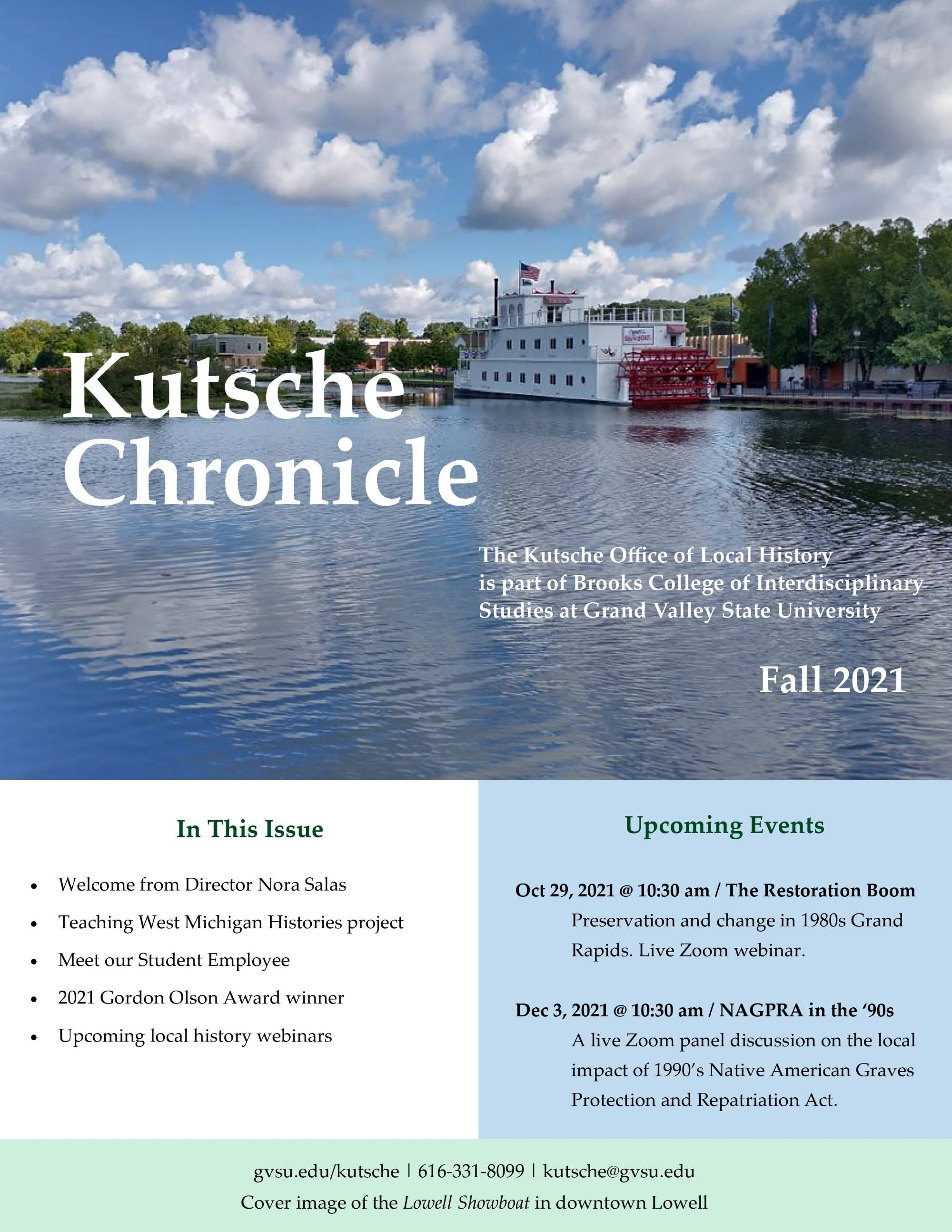 Cover of the Fall 2021 Kutsche Chronicle