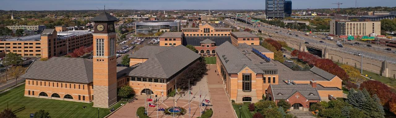 Aerial photo of GVSU DeVos Building