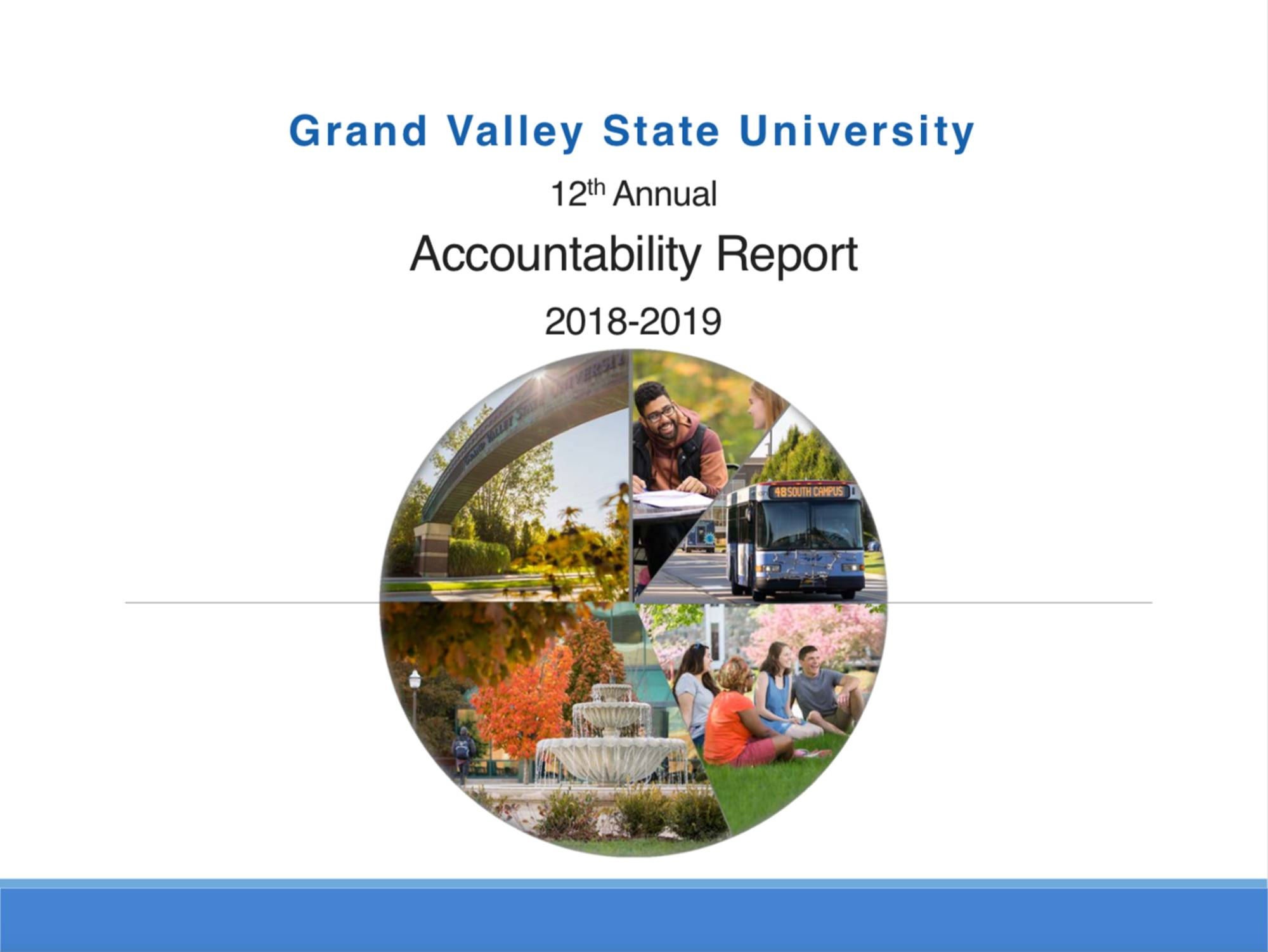 An image of the cover page of the 2018 Grand Valley accountability report. The cover features five photographs arranged in the shape of a pie chart. One is of the arch over the entrance to campus. Second photo is a student sitting at a picnic table studying. Third is a picture of the campus bus driving down campus drive. Fourth is a picture of the fountain outside of student services, and fifth is a group of students laughing while studying on the grass near Lake Superior Hall.