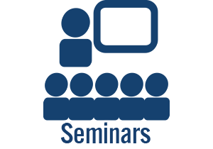 Seminar icon with blue people
