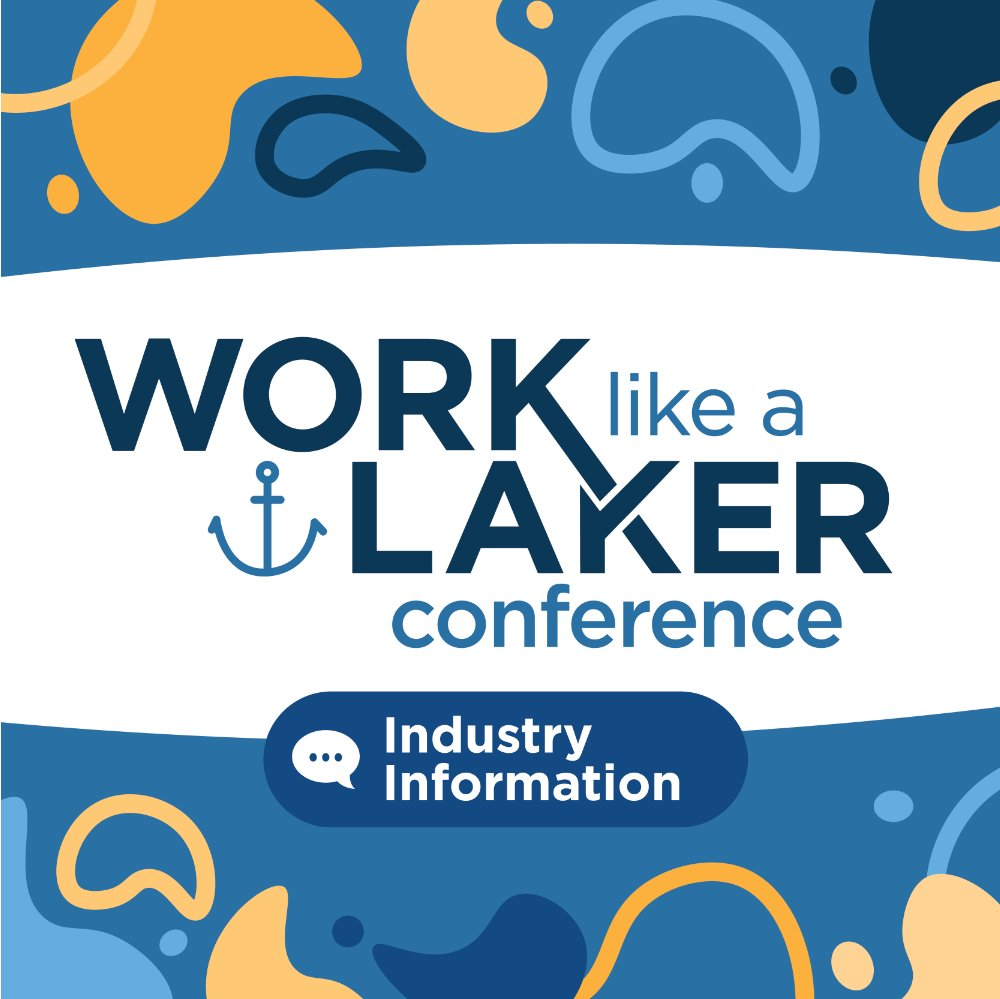icon with work like a laker conference and industry information text