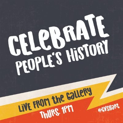 "black, white, yellow, and orange graphic with zig-zag running through the bottom half of the image, text reads, ""celebrate people's history, live from the gallery, thurs. 1pm, @gvsuart"""
