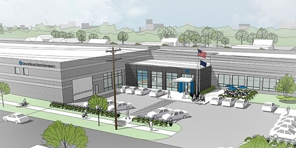 Artists rendering of the remodel of the Ferris Coffee building to be the new engineering space.