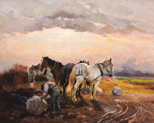 A painting of a pastoral scene with horses