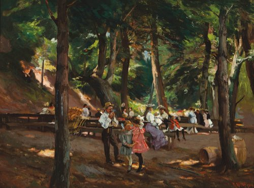 A painting of an old-fashioned picnic in the woods