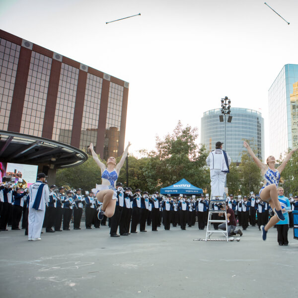 The Laker Marching Band performing during the 2017 ArtPrize opening ceremony.