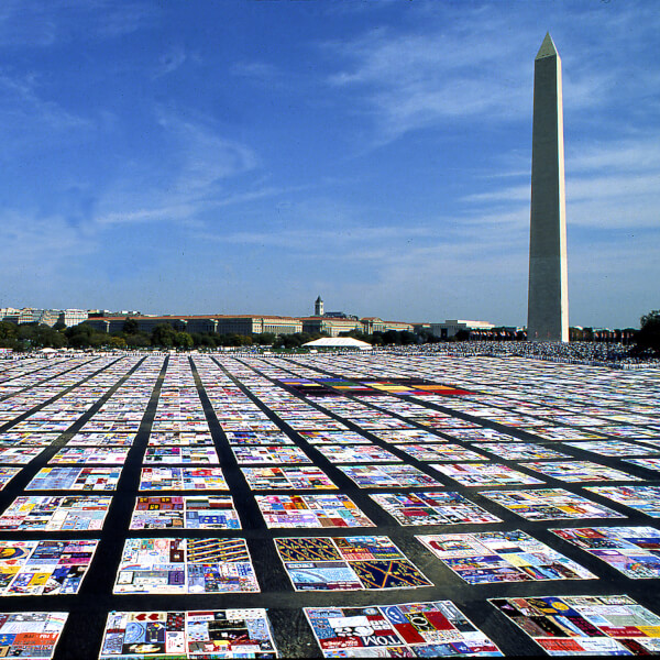 pieces of AIDS quilt on ground in Washington, D.C.