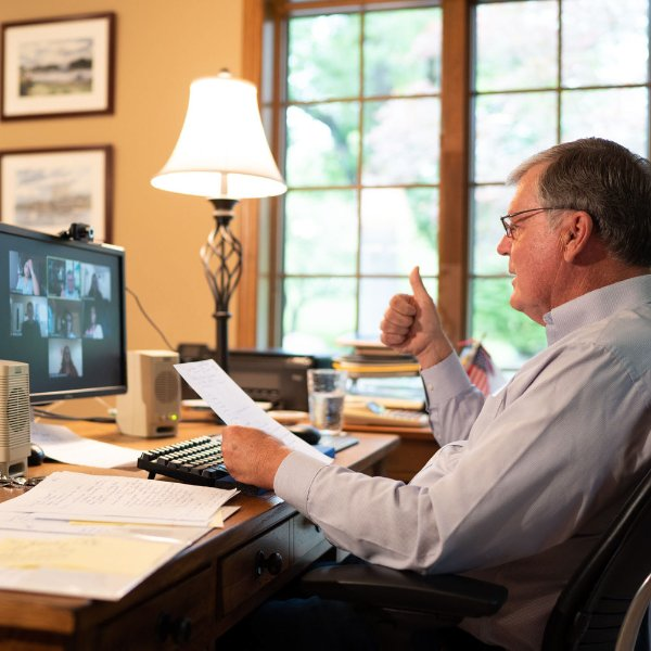 President Emeritus Thomas Haas leads a Zoom class from his home office.