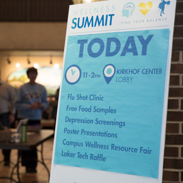 A poster from the 2018 Wellness Fair in Kirkhof Center on the Allendale Campus.