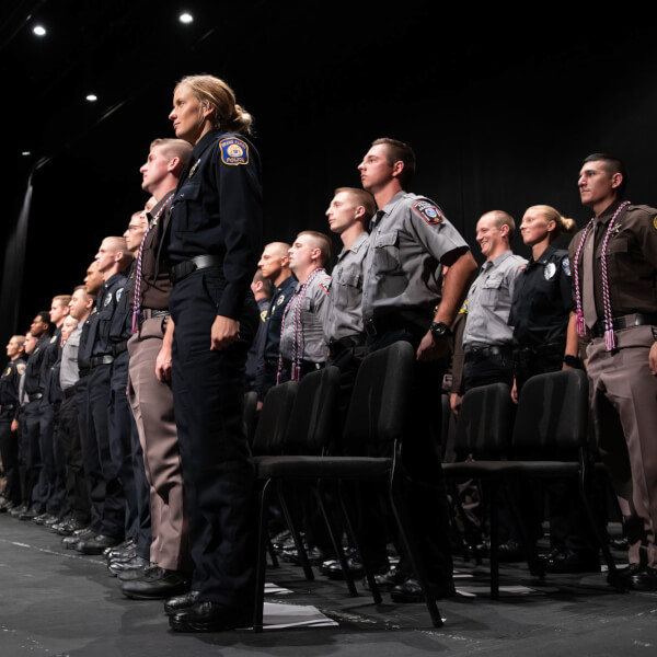 Forty-eight police academy recruits graduated August 15 from the Grand Valley State University Police Academy.