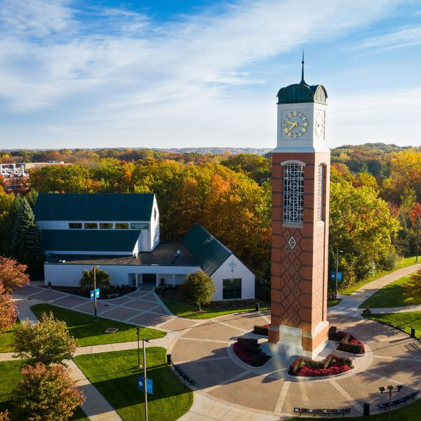 aerial photo of carillon tower, Cook-DeWitt Center