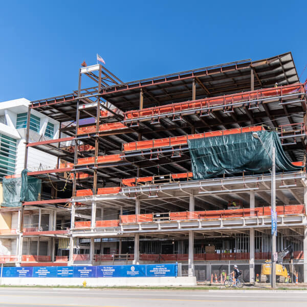 The Center for interprofessional health sits under construction in summer 2020.