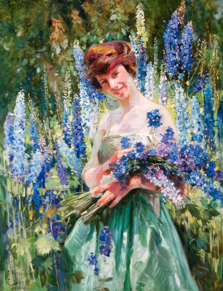 Mathias J. Alten, Camelia of the Delphiniums, 1919, oil on canvas