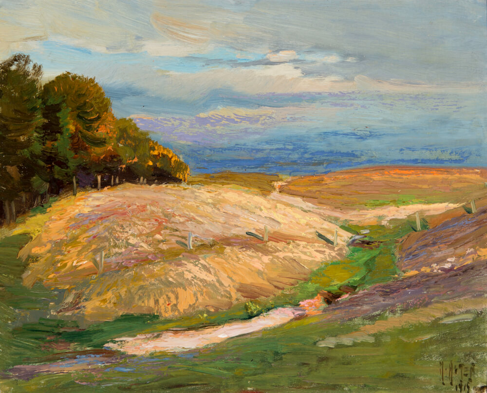 Mathias J. Alten, Late Summer Fields, Michigan, 1919, oil on canvas