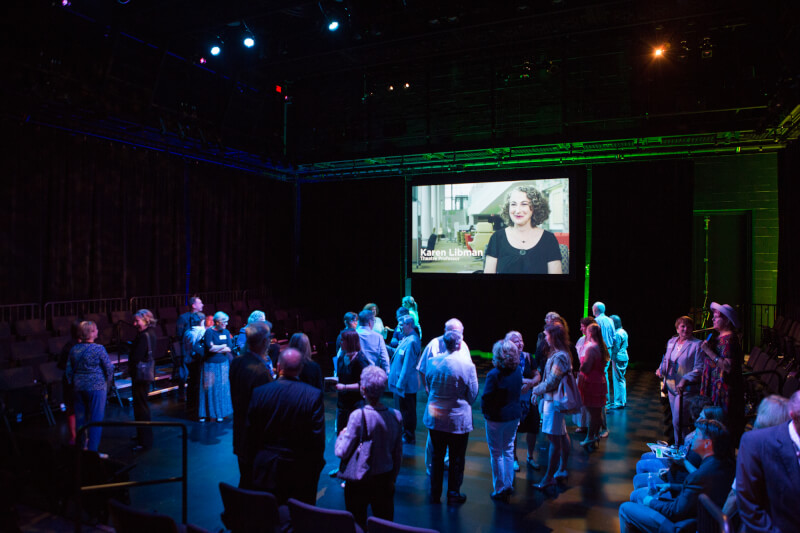 Photo of guests touring the Linn Maxwell Keller Black Box Theatre.