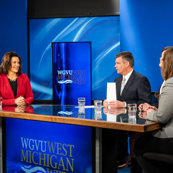 Gov. Gretchen Whitmer shown on the set at WGVU. Whitmer is a guest on West Michigan Week February 13.